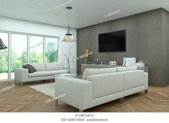 modern white skandinavian interior design living room 3d Illustration