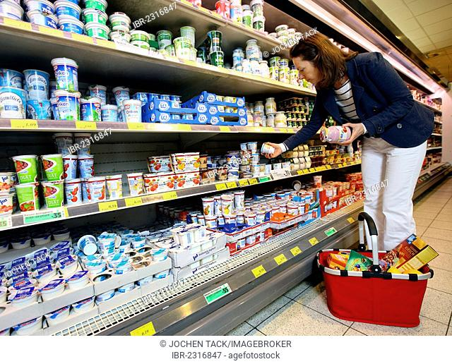 Cooler, woman shopping for dairy products, self-service, food department, supermarket, Germany, Europe