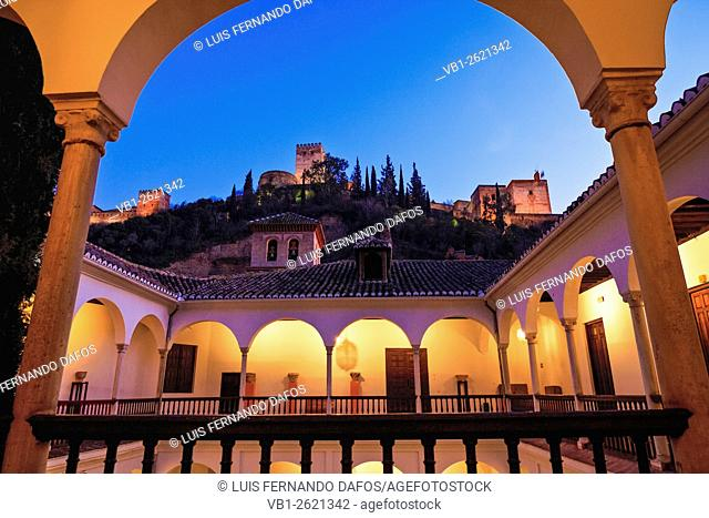 Alhambra seen at dusk from Archeological Museum, Granada, Spain