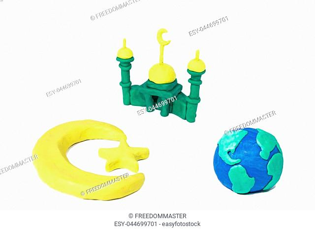 Symbols of Islam. Objects made from Play Clay. Abstract isolated photo