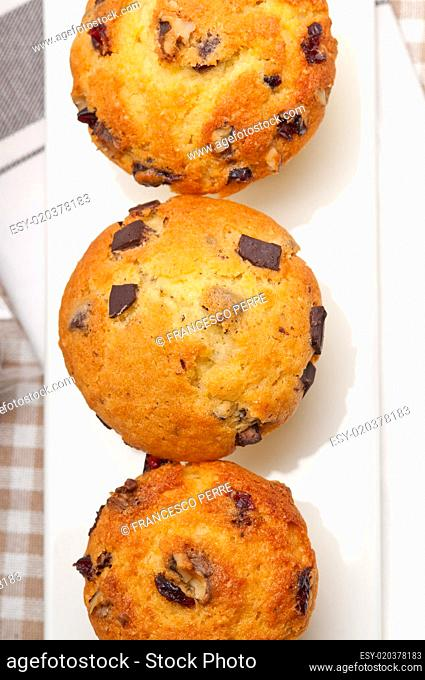 fresh chocolate and raisins muffins