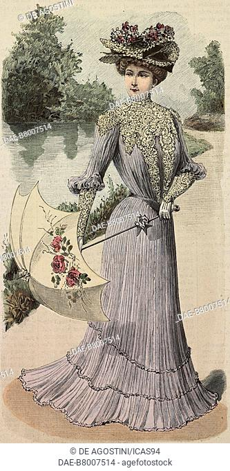 5175f2294ce14 Woman wearing a summer dress in pleated voile fabric, creation by Madame  Angenault, engraving