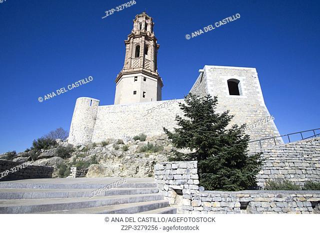 The tower named Fortin de la Torre Mudejar de la Alcudia, Jerica, Castellon, Spain