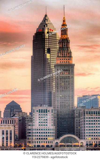 The Terminal Tower and Key Tower dominate the skyline of Cleveland, Ohio under a colorful sky just before sunrise. The Terminal Tower was the 4th tallest...