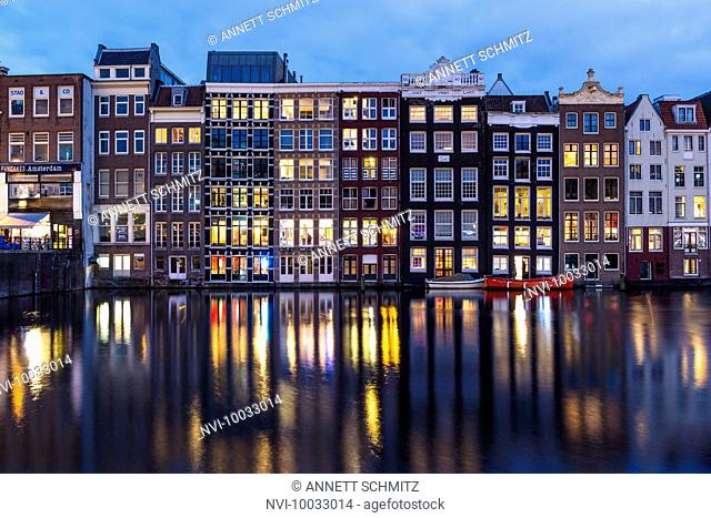 Damrak at night, Amsterdam, Holland, Netherlands