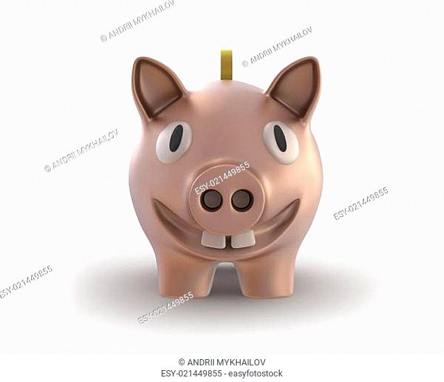 Piggy bank with a coin smiling front view