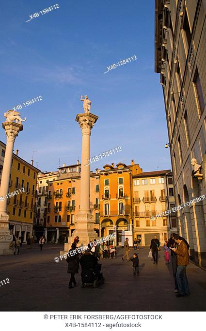 Columns with Lion of St Mark and Redeemer on top of them Piazza dei Signori square Vicenza the Veneto region northern Italy Europe