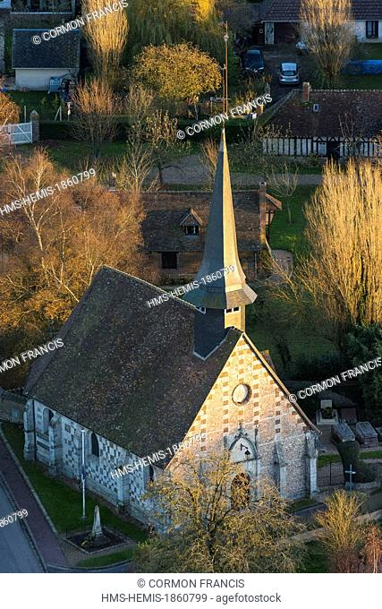 France, Eure, Le Fresne, the church (aerial view)