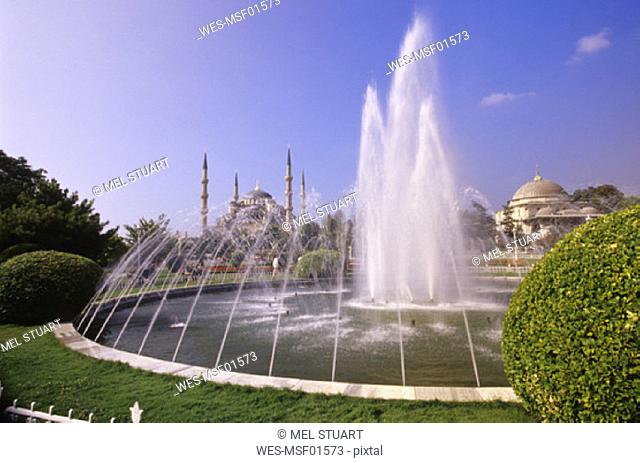 Fountain with Blue Mosque in the background, Istanbul, Turkey