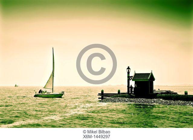 Sailboat and port  Volendam village  Holland, Netherlands, Europe