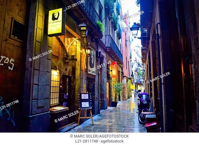 Street. La Ribera, El Born, Ciutat Vella, Barcelona, Catalonia, Spain