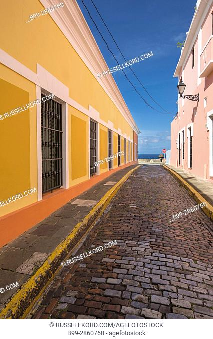 COBBLESTONE STREET COLORFUL BUILDINGS CALLE VIRTUD OLD TOWN SAN JUAN PUERTO RICO