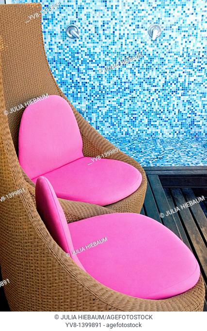 Outdoor shower and chairs