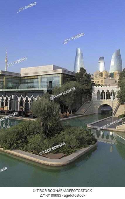 Azerbaijan, Baku, Mini Venice, Little Venice, Flame Towers,