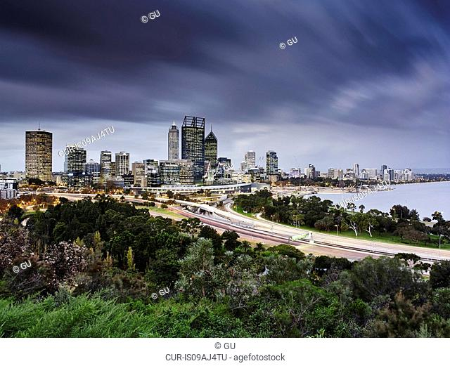 Perth skyline, viewed from Kings Park, Perth, Australia