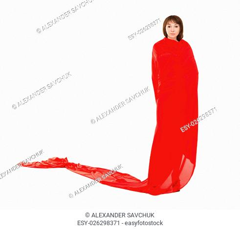 Beautiful Woman in Red Long Dress, isolated on white background