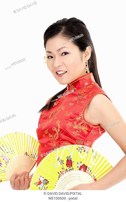 Beautiful Chinese woman in traditional Chinese clothing