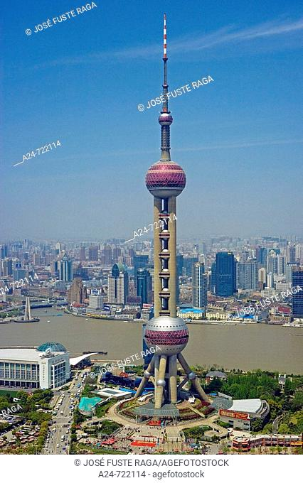 China-April 2008. Shanghai City. Pudong New Area. Oriental Pearl Tower