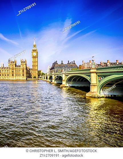 View across the River Thames of the Palace of Westminster, London, home of the British Government