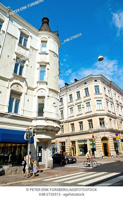 Corner of Uudenmaankatu and Annankatu streets, Punavuori, Helsinki, Finland