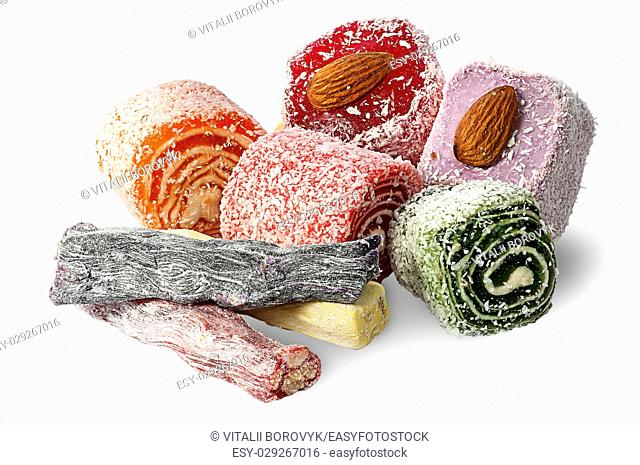 Big pile of Turkish Delight with nuts isolated on white background