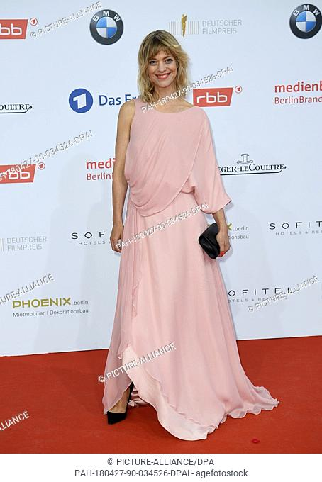 27 April 2018, Germany, Berlin: Actress Heike Makatsch arriving at the 68th award ceremony of the German film prize 'Lola'