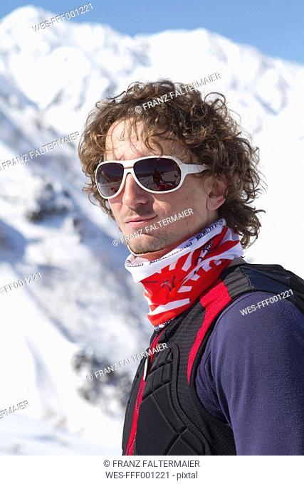 Japan, Hokkaido, Man in skiwear, close up