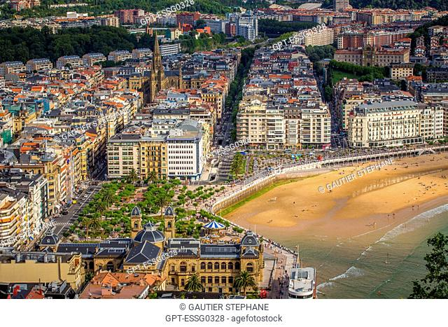 LA CONCHA BAY, VIEW OVER SAN SEBASTIAN FROM MOUNT ULIA, BUEN PASTOR CATHEDRAL, SAN SEBASTIAN, DONOSTIA, BASQUE COUNTRY, SPAIN