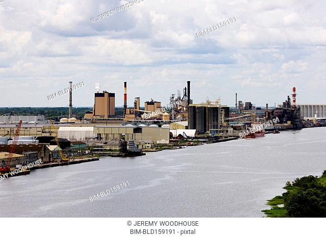 Industrial factory on riverbank