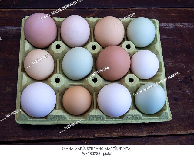 A group of ecological eggs of various colors, white eggs, blue eggs and brown eggs
