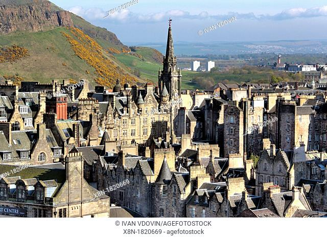 View of city from Scott Monument, Edinburgh, Scotland, UK