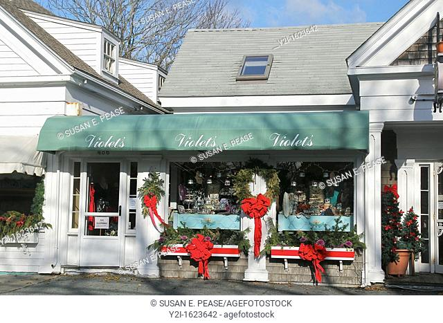 A shop in the town of Chatham, on Cape Cod, decorated for the holiday season  Chatham, Massachusetts, United States