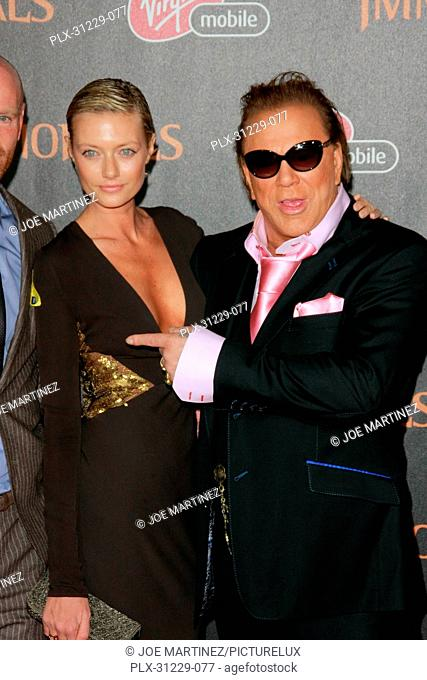 Mickey Rourke and girlfriend Anastasia Makarenko at the Premiere of Relativity's Immortals. Arrivals held at Nokia Theater L.A