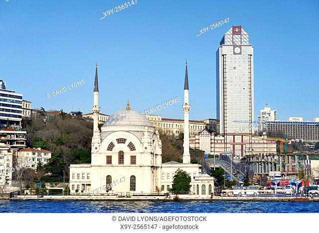 Dolmabahce Mosque, Istanbul, Turkey, seen from the Bosphorus. Completed 1855
