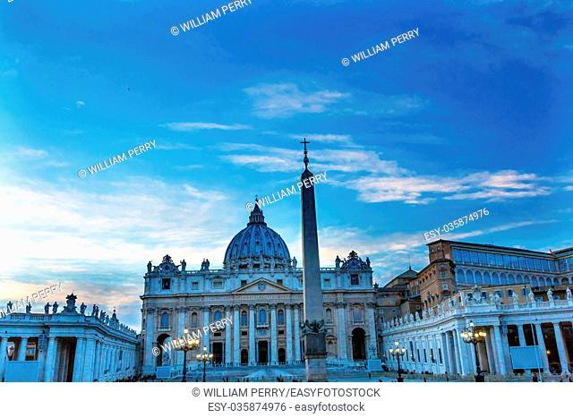 Saint Peter's Basilica Obelisk Front Michelangelo Dome Statues Bernini Vatican Front