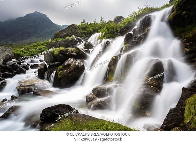 The first waterfalls of the great river Po' under the Monviso, Crissolo, Po' Valley, Cuneo District, Piedmont, Italy