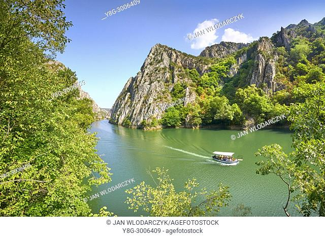 Speed motor boat on the lake, Matka Canyon, Macedonia