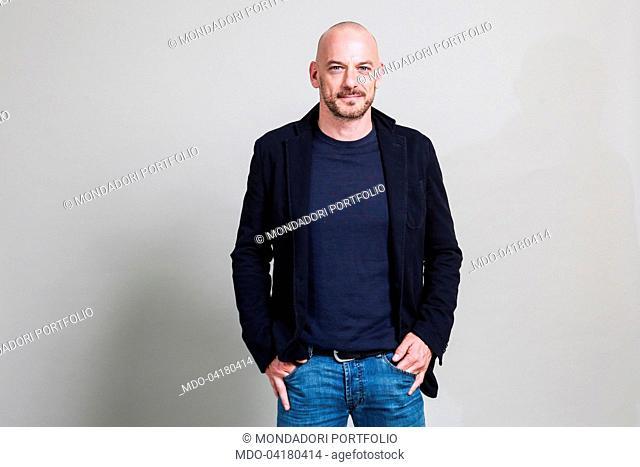Photo shooting on the set of the TV mini-series Amore pensaci tu. Italian actor Filippo Nigro posing. Rome (Italy), 17th May 2016