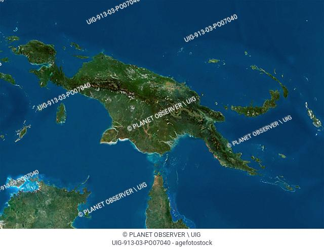Satellite view of New Guinea. This image was compiled from data acquired by Landsat satellites