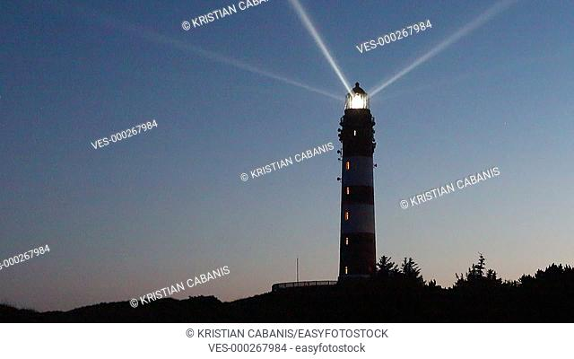 Lighthouse with turning beam, Amrum, Northfrisian Islands, Schleswig-Holstein, Germany, Europe