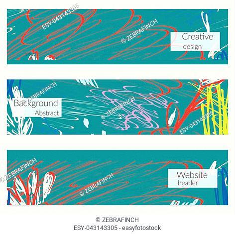 Hand drawn creative universal banner set. Abstract scribbles doodles bright colors. Website header social media advertisement sale brochure templates