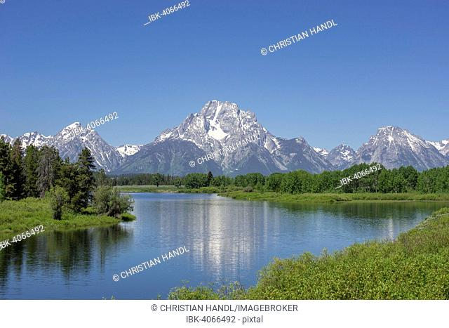 View of Grand Teton National Park from Oxbow Bend, Wyoming, United States