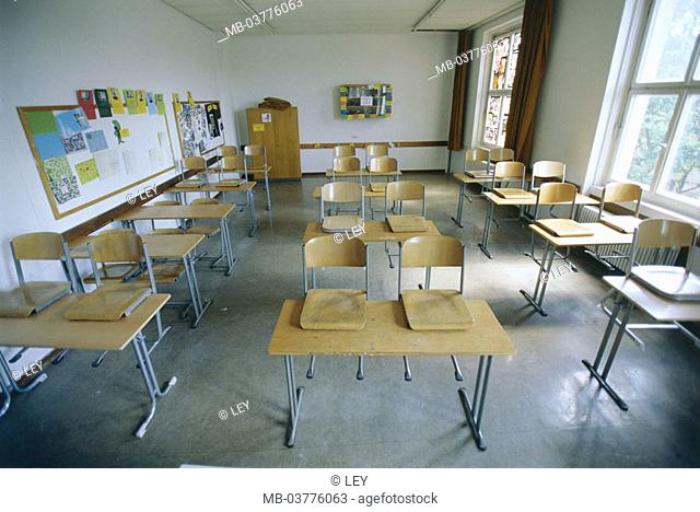 Classrooms, tables, chairs, empty,   School, school class, school benches, furniture, order, cleared up neatly, abandoned, nobody, concept, school end, vacation