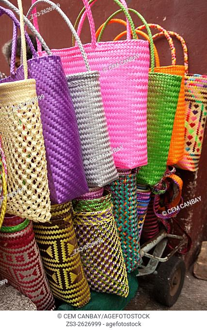 Colorful mesh bags for sale at the street in the historic center, Oaxaca, Oaxaca State Mexico, Central America