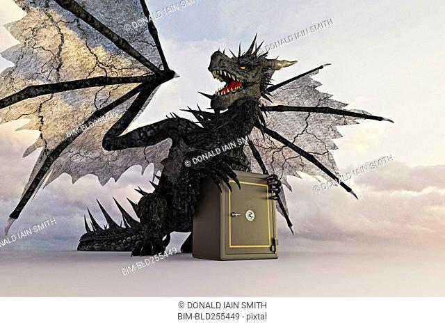 Dragon guarding safe