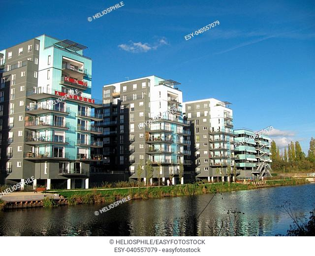 Modern buildings reflected in the River