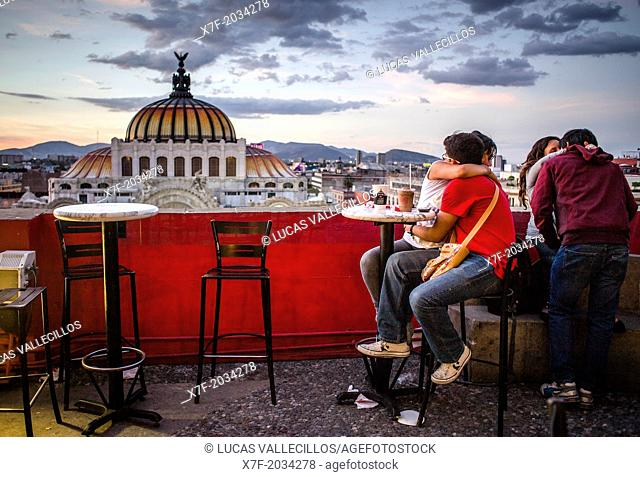 Gran Café de la Ciudad de México, 8 floor of Sears store, in background Palacio de Bellas Artes, Mexico City, Mexico