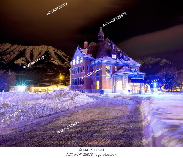 The Courthouse in Fernie, British Columbia at night, decorated for Christmas