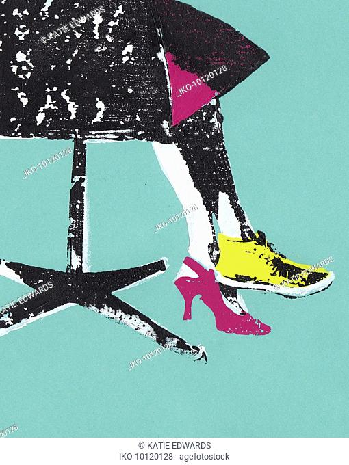 Low section of businesswoman sitting in office chair wearing high heel and trainer