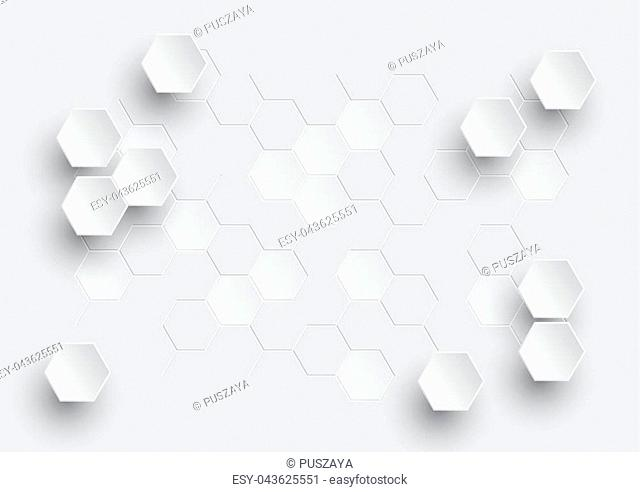 Hexagonal geometric abstract background, creative minimalistic design. Vector illustration concept for molecule, molecular structure, genetic